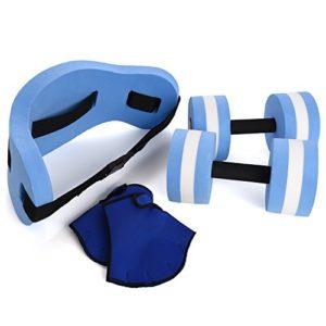 Ivation Water Exercise Set – 6 Piece Set – Water Workout and Aerobics – Floatation Belt  Resistance Gloves  Dumbbells