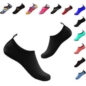 Men and Women Slip On Water Shoes Lightweight Barefoot Quick Dry Aqua Yoga Socks For Outdoor Beach Sports(Black 40/41EU)