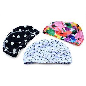 3pcs Mix Colors designed Lycra swimming Cap hat Bathing cap swimming hat