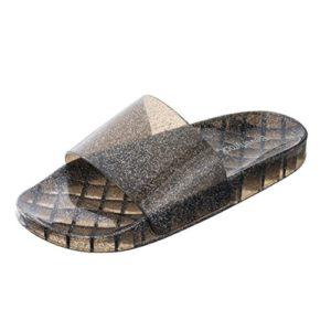 Beverly Rock Women's Summer Flip Flop Open Toe Jelly Glitter Slide Sandal Slippers (9  Black)