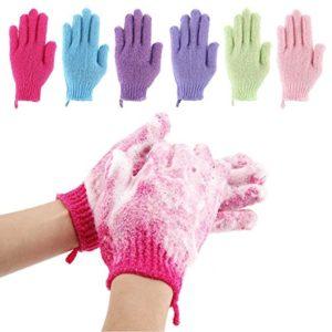 Codream 6 Pair Bath Exfoliating Gloves Nylon Shower Gloves  Bath Scrubber  Body Spa Massage Dead Skin Cell Remover Valentine's Gifts for Women Men