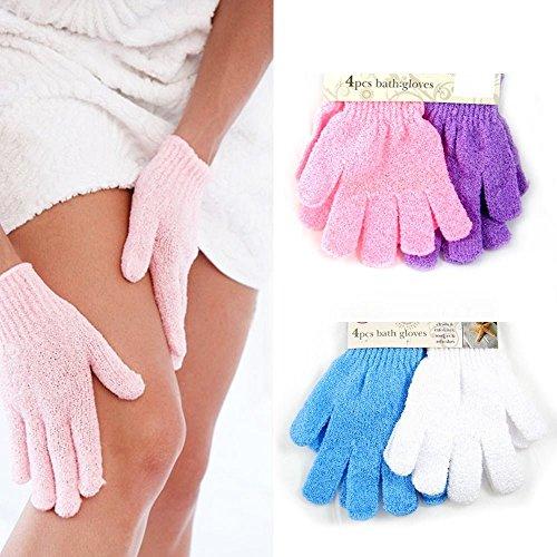 ATB 4 Pairs Shower Exfoliating Wash Skin Spa Foam Bath Gloves Massage Scrubber