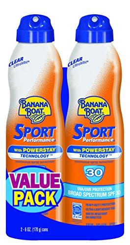 Banana Boat Sunscreen Sport Performance Broad Spectrum Sunscreen Spray  SPF 30  6 ounces (Pack of 2)
