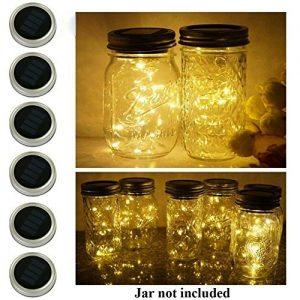 6 Pack Mason Jar Lights  10 LED Solar Warm White Fairy String Lights Lids Insert for Garden Deck Patio Party Wedding Christmas Decorative Lighting Fit for Regular Mouth Jars