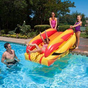 "92"" Orange  Yellow and Black Aqua Fun Inflatable Aqua Launch Swimming Pool Slide"