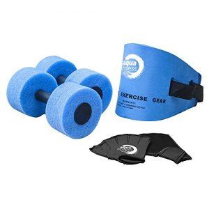 Aqua 6 Piece Fitness Set  Water Aerobics  Aquatic Low Impact Workout  Flotation Belt  Resistance Gloves  Barbells