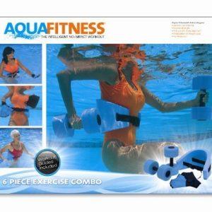 Aqua Fitness Exercise Set - 6 Piece Set - Water Workout and Aerobics - Floatation Belt  Resistance Gloves  Barbells by Aqua Leisure by Aqua Leisure