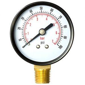 Aquatix Pro Pool Filter Pressure Gauge - Premium Spa Pool Aquarium Water Pressure Gauge by  2  Dial  0-100 Psi  Bottom Mount 1 4  Compatible with Most Brands Such as Hayward  Pentair   Jandy