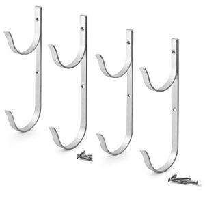 Aquatix Pro Pool Pole Hanger Premium 4pc Aluminium Holder Set by  Ideal Hooks for Telescopic Poles  Skimmers  Leaf Rakes  Nets  Brushes  Vacuum Hose  Garden Tools and Swimming Pool Accessories