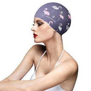 BALNEAIRE Silicone Swim Cap for Women  Waterproof UV Protection Long Hair Swimming Caps Flamingo Print Grey