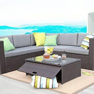 Baner Garden (K35-CH 4 Pieces Outdoor Furniture Complete Patio Cushion Wicker Rattan Garden Corner Sofa Couch Set  Chocolate