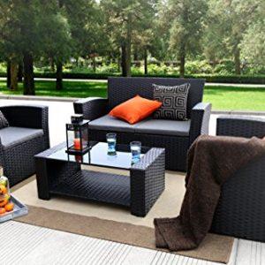 Baner Garden (N87 4 Pieces Outdoor Furniture Complete Patio Cushion Wicker P E Rattan Garden Set  Full  Black