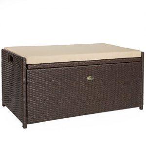 Barton Outdoor Storage Bench Rattan Style Deck Box w Cushion  60-Gallon