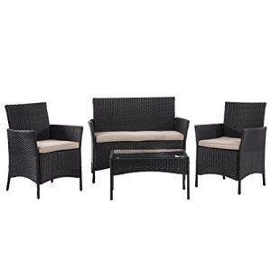 BestMassage Outdoor Furniture Patio Sofa set Wicker Rattan Sectional 4 pcs Garden Conversation Set Cushion Tempered Glass TableTop Yard