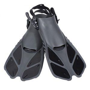 CAPAS Snorkel Fins  Snorkeling Fins Swim Fin Short Adjustable Diving Fins for Adult Men Womens Kids Scuba Diving Swimming Duck Feet Swim Travel Open Heel Flippers Snorkelling Fins (Black  L XL)