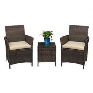 Devoko Patio Porch Furniture Set 3 Piece PE Rattan Wicker Chairs Beige Cushion With Table Outdoor Garden Furniture Sets (Rattan  Brown)