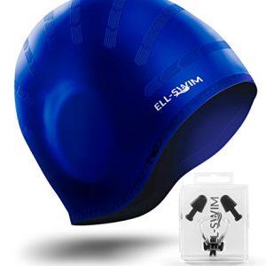 ELL-SWIM Silicone Swimming Cap - Comfortable Swim cap Universal Sized Swimming Caps - Work Great as Men   Women swim caps – Complete Swimming Kit-Noise Clip   Ear Plugs Included