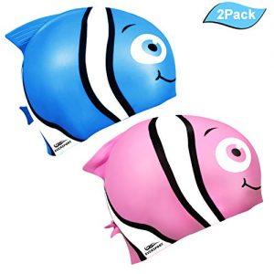 EVERSPORT Kids Swim Cap  Pack of 2  Silicone Toddler Swim Caps Boys Girls  Fun Design Waterproof Junior Swimming Cap Pink Blue Age 3-12 (Minnow)