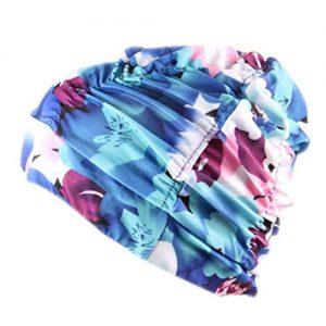 Elevin(TM)Women Unisex Girls Summer Flora Long Hair Bathing Cap Swimming Cap Stretch Drape Hat (D)