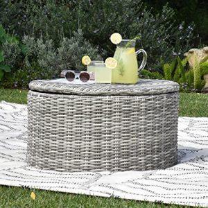Elle Decor Vallauris Outdoor Storage Coffee Table  Gray