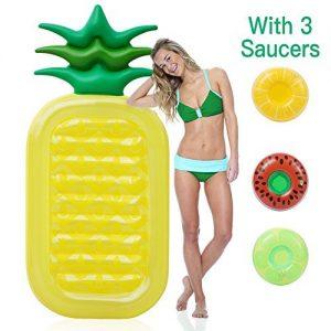 FunsLane Inflatable Pineapple Pool Float Raft  Fun Pool Floaties  Swim Party Summer Pool Lounge Raft Children Adults  Beach Holiday Toys 3 Pack Random Inflatable Drink Holders