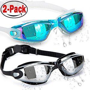 HOOLRO Lunettes de natation  lot de 2  lunettes de natation  lunettes de natation pour adultes Hommes Femmes Jeunesse Enfant  lunettes de protection anti buee UV