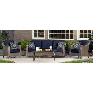 Hanover Outdoor Furniture Gramercy 4-Piece Wicker Patio Seating Set  Navy Blue