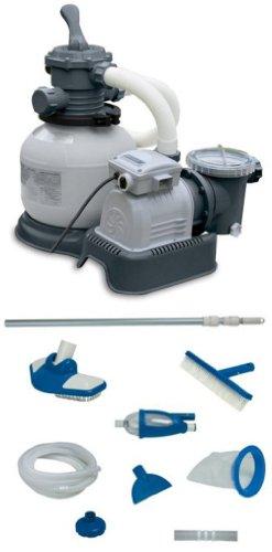 Intex 2100 GPH Krystal Clear Sand Filter Pool Pump w Deluxe Maintenance Kit