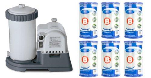 Intex 2500 GPH Krystal Clear Pool Filter Pump w  GCFI   6 Type B Cartridges