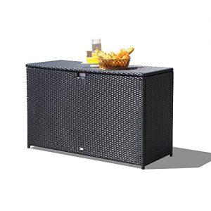 Orange Casual Patio Aluminum Frame Resin Wicker Storage Bin Deck Box 140-Gal (Black)