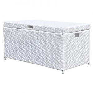 Outdoor 70 Gallon Wicker Deck Storage Box Color  White